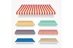 3d Color Awnings Set. Vector