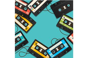 Cassette Tape Background Card