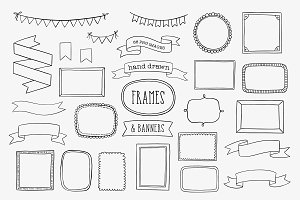 Hand Drawn Frames, Banners & Ribbons
