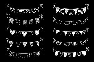 Chalkboard bunting clipart doodle