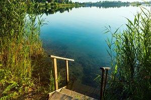 Summer morning lake shore