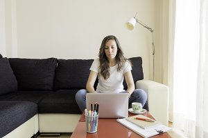 woman is working at home