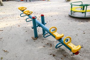 Children's rocking, swing balancer on the playground.