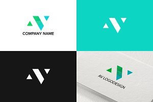 Letter A and V logo design