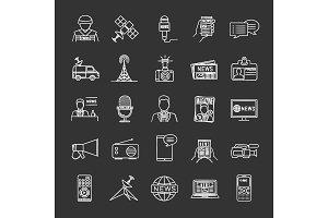 Mass media chalk icons set