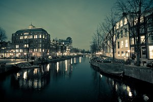 Amsterdam Canal Street view at Night