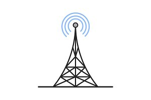 Radio tower color icon