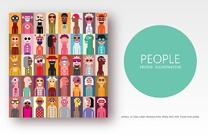 Group of people pop art style vector