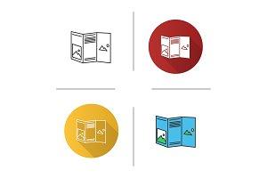 Folded brochure mockup icon