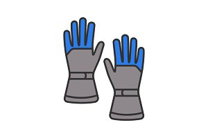 Winter ski gloves color icon