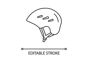 Ski and snowboard helmet linear icon