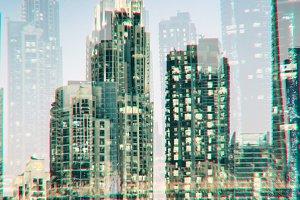 Cityscape in double exposure glitch