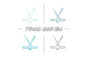 Crossed hockey sticks with puck hand drawn icons set