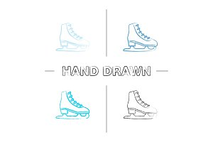 Ice skate hand drawn icons set