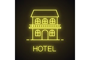 Two storey cottage neon light icon