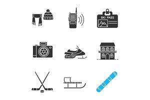 Winter activities glyph icons set