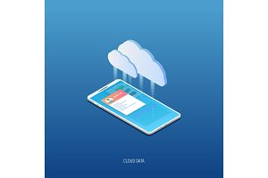 Isometric phone and cloud storage