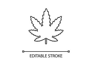 Marijuana leaf linear icon