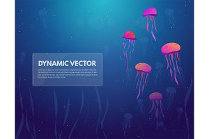 Sea and jellyfish background banner