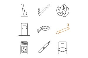Smoking linear icons set