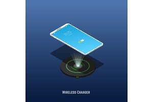 Isometric mobile phone and wireless charger