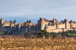 View of Carcassonne castle in France