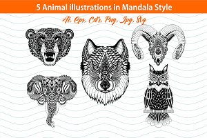 5 Animal Mandala illustrations