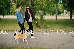 Slow motion of happy modern young people walking cute small dog in park and laughing. Girl and guy are wearing modern clothes jeans and sunglasses.