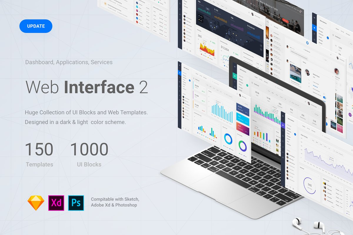 Web Interface 2, Sketch, XD, PSD ~ UI Kits and Libraries ~ Creative