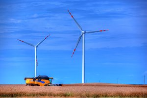 Modern agriculture. Wind turbines