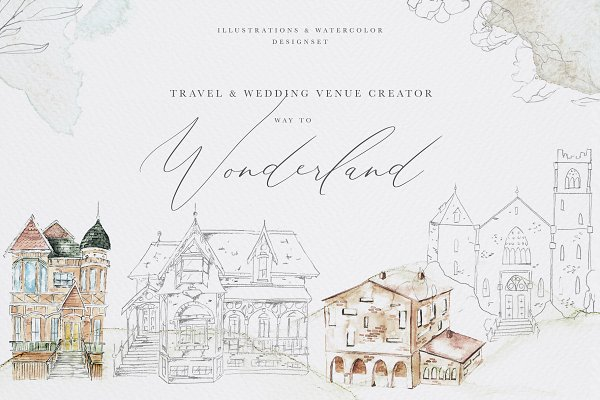 Wedding Venue &Travel Watercolor Se…
