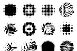 Monochrome Halftone Effects Set