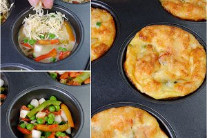 egg-cheese muffins with vegetables
