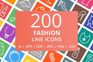 200 Fashion Line Multicolor BG Icons