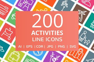 200 Activities Line Icons