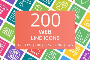 200 Web Line Multicolor B/G Icons