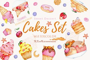 Watercolor Cake Set