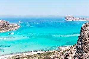 Blue water beach landscape