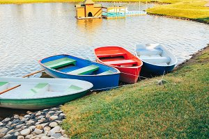 colored boats on the lake in Europe