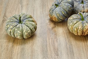 thai pumpkin on wooden board