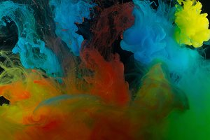Color abstraction on a black background