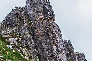 rocky mountain peak with blue sky