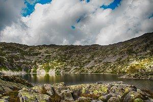 mountain lake with blue sky