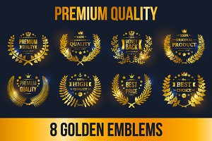 8 Golden Laurel Wreath Emblems