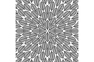Vector round pattern with leaves. Floral pattern.