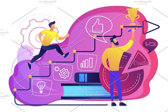 Business coaching concept vector illustration.