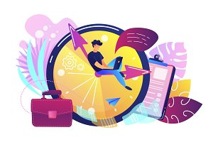 Time management concept vector illustration.