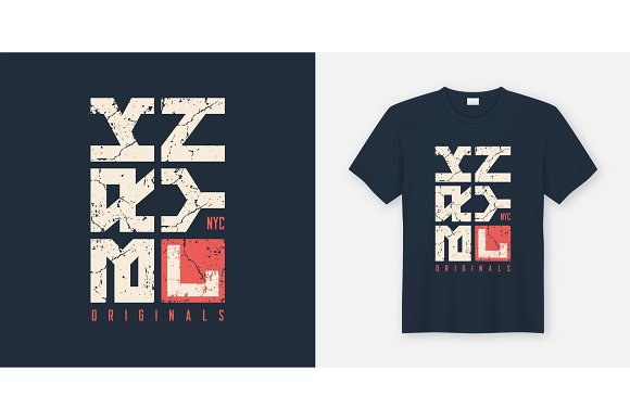 Brooklyn New York textured t-shirt and apparel design, typograph