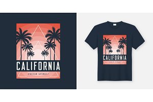 California Ocean Avenue t-shirt and apparel design, typography,