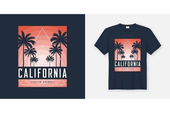 California Ocean Avenue t-shirt and apparel design, typography,  in Illustrations